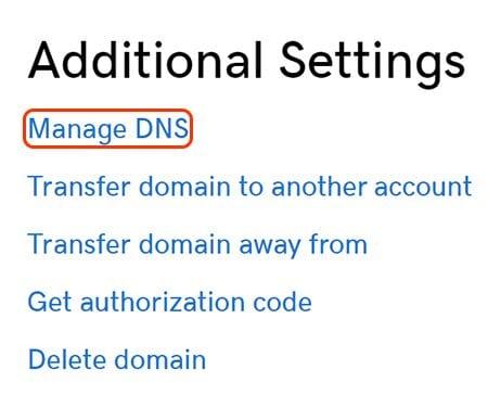 godaddy manage DNS
