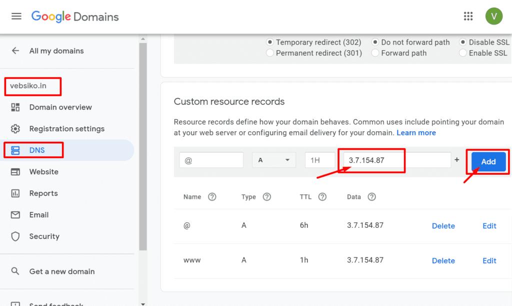 DNS record set
