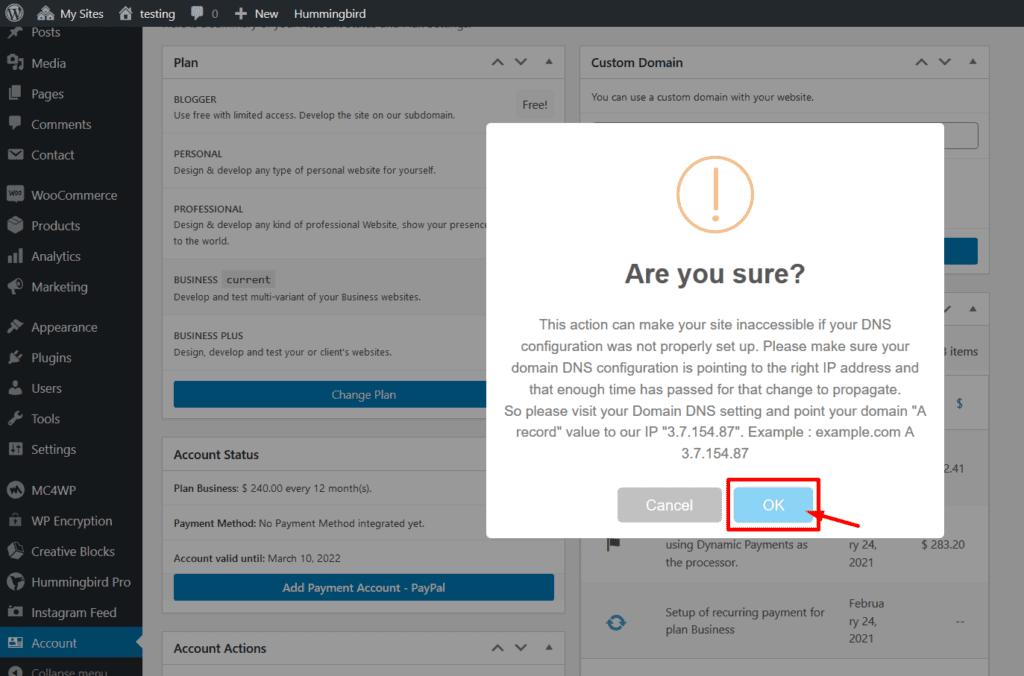 confirm custom domain